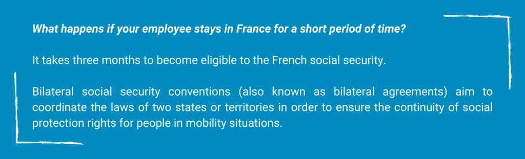the Frenchsocial securitycoverage -What happens if your employee stays in france for a short period of time ? It takes three months to become eligible to the french social security Bilateral social security conventions (also known as bilateral agreement) aim to coordinate the laws of two states or territories in order to ensure the continuity of social protection rights for people in mobility situations